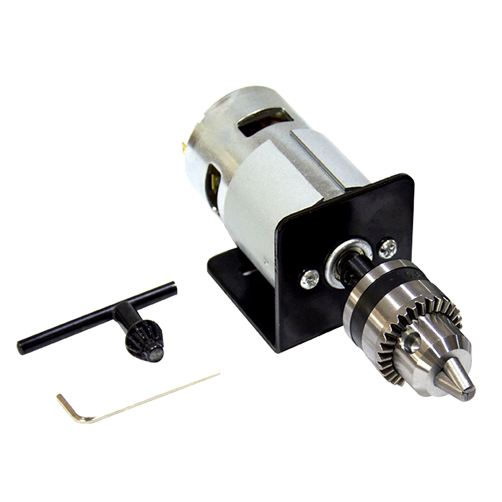 DC 775 Motor 12-24V Lathe Press with Miniature Hand Drill Chuck & Mounting Bracket DC Motor 5500/10000Rpm for Woodworking Tools