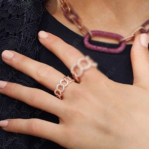 Image 5 - Sljely Fashion Rock Rose Goud Kleur 925 Sterling Zilver Roze Chain Link Finger Ring Micro Pave Zirkoon Vrouwen September Sieraden