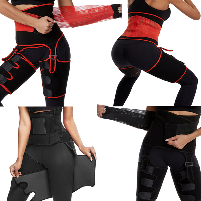 Women High Waist Thigh Trimmer Neoprene Sweat Shapewear Slimming Leg Body Shapers Adjustable Waist Trainer Slimming Belt 2