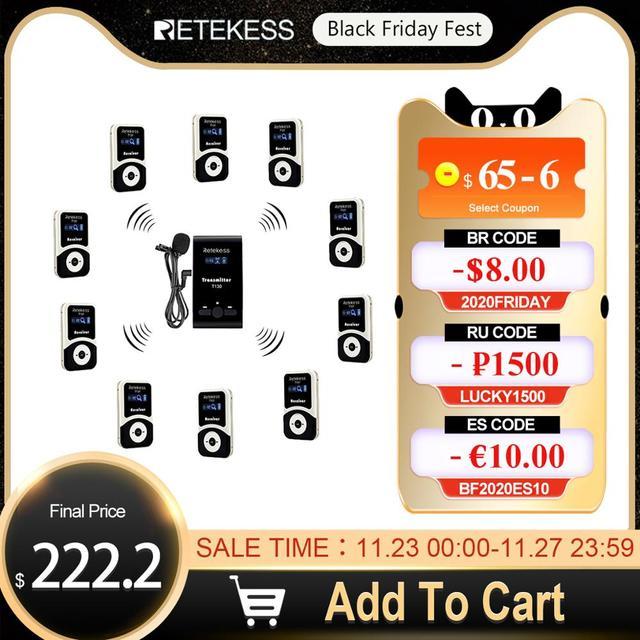 Retekess Wireless Tour Guide System 1 Trasmettitore T130 + 10 Ricevitore + Mic per la Chiesa di Fabbrica del sistema di Traduzione Tour di Formazione corte