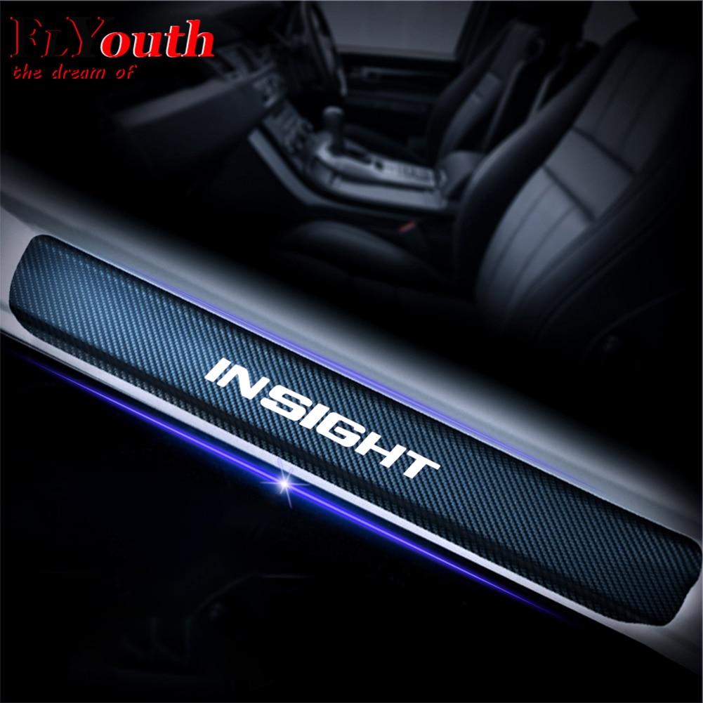 Car Door Sill Scuff Plate For Honda Insight 4D Carbon Fiber Vinyl Stickers Auto Accessories Door Threshold Plate Stickers 4Pcs