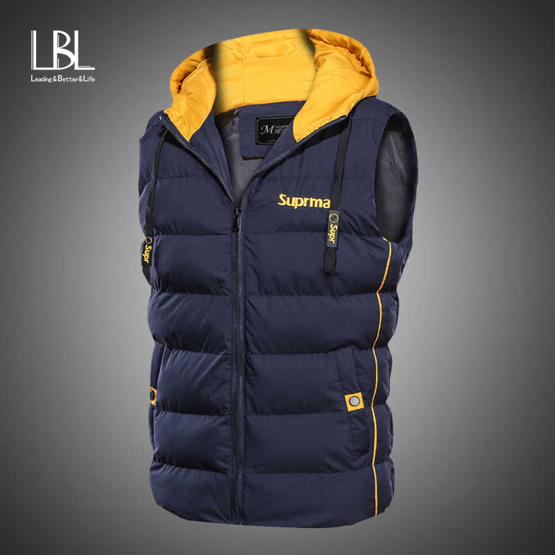 Winter Thick Vest Men Autumn Warm Sleeveless Jacket Mens Casual Waistcoat Mens Fashion Outwear Parkas Cotton Vest Hooded Coat