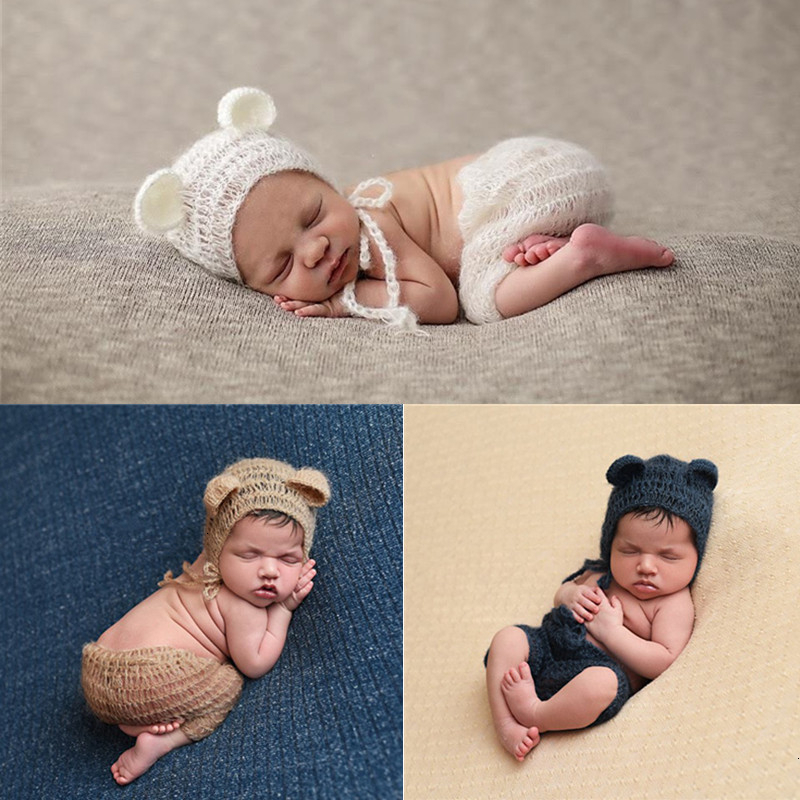 Newborn Photography Props Mohair Newborn Clothing Little Bear Hat+Pants Set Crochet Infant Clothes Baby Photo Props Accessories