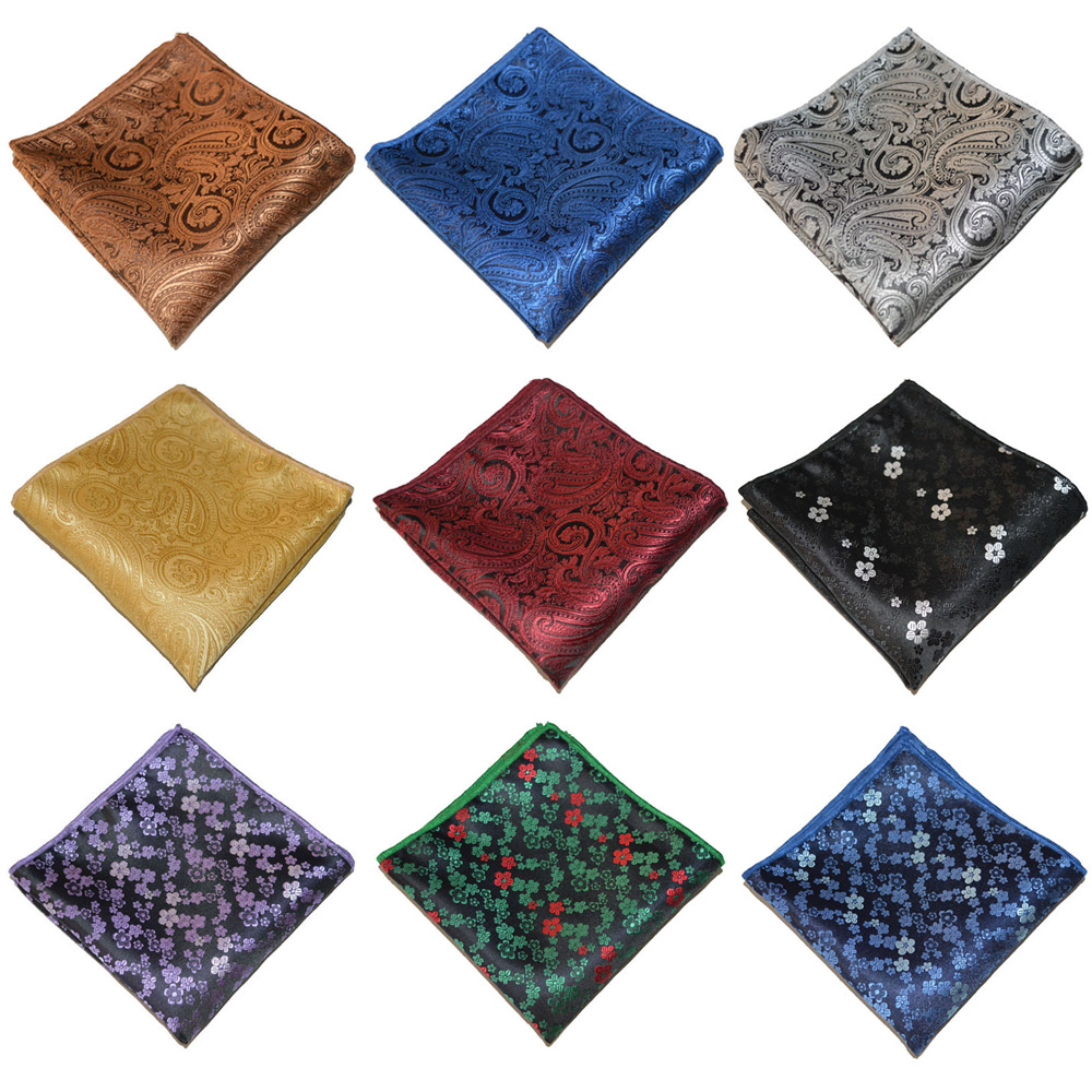 Men High Quality Handkerchief Paisley Floral Printed Hanky Party Pocket Square BWTYX0336