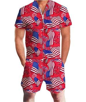 OLOEY 2019 Summer Stylish US Flag Mens Romper Jumpsuit Galaxy Printed Cargo Short Sleeve Overalls Playsuit Romper Jumpsuits