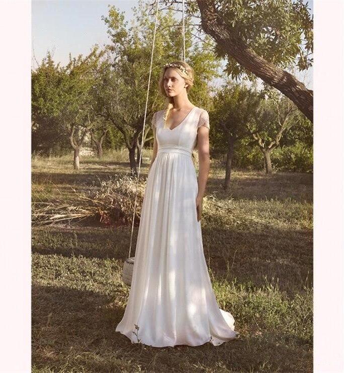 Vestido De Noiva 2019 Summer White Chiffon Bridal Wedding Dress Boho Lace Beach Wedding Dresses Long Tulle Simple Wedding Gowns