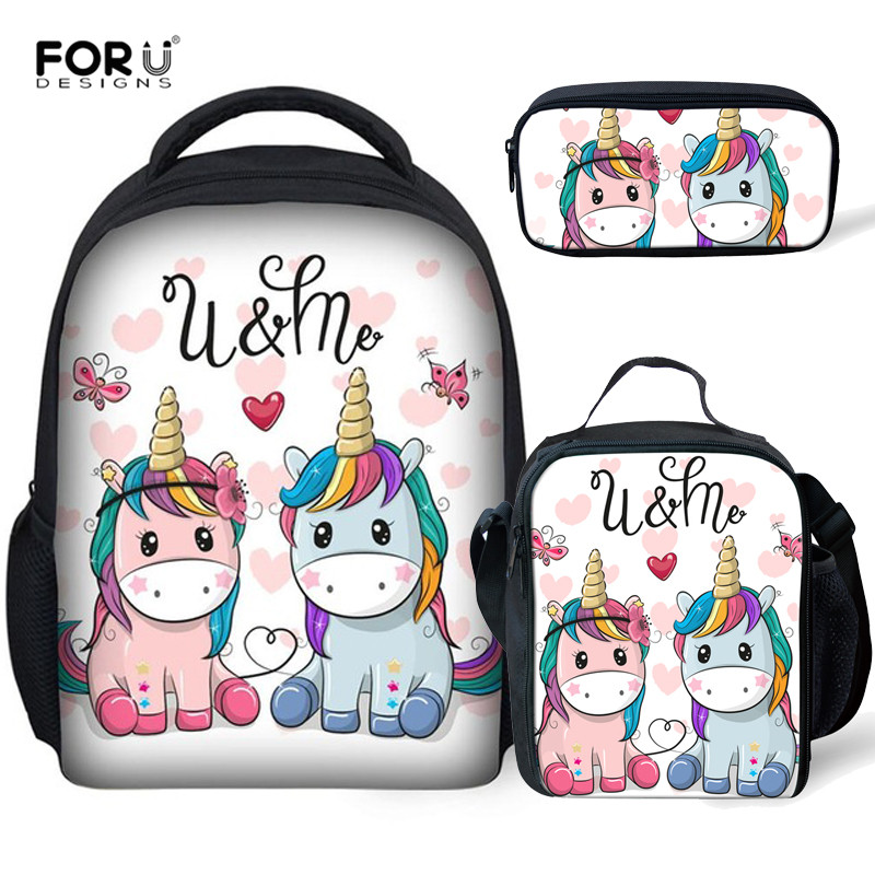 FORUDESIGNS School-Bags Book-Bag-Backpack-Set Unicorn Kindergarten Girls Kids 12inch