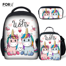 цены FORUDESIGNS Kids Kindergarten Unicorn School Bags For Girls Schoolbag Toddler Book Bag Backpack Set Mini 12 Inch Mochila Escolar