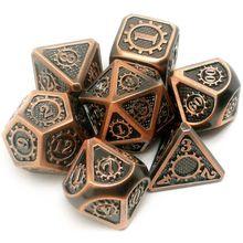 Новые металлические кости 7 шт./компл. RPG Dice D & D настольная игра магический реквизит D4 D6 D8 D10 D12 D20
