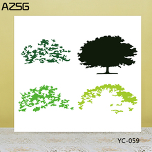 AZSG Lush Tree Leaves Cutting Dies Clear Stamps For DIY Scrapbooking/Card Making Decorative Silicone Stamp Craft