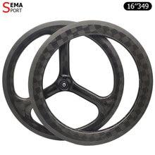 16inch 349 carbon wheel brompton SEMA 3Spokes trispoke fnhon bicycle parts folding bike 74mm custom clincher light weight rim