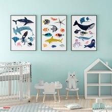 Современный плакат с изображением морского существа настенное