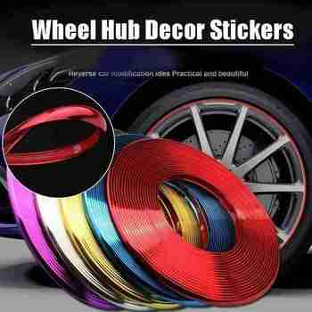 8M Car Decorative Strip Wheel Protector Hub Sticker Car Wheel Rims Protectors Decor Strip Tire Guard Line Rubber Mounding Trim image