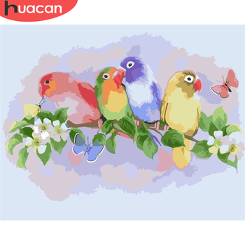 HUACAN Paint By Number Bird Hand Painted Painting Art Gift DIY Pictures By Numbers Flower Kits Drawing On Canvas Home Decor