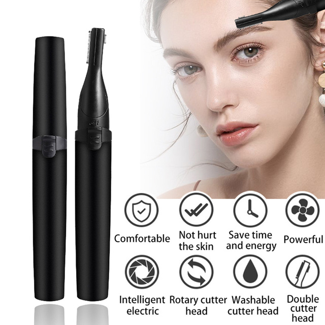 Mini Eyebrow Trimmer Electric Razors Portable Face Body Hair Remover Double Cutter Head Painless Epilator Makeup Tool Kit
