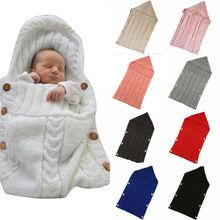 Вязаные крючком спальные мешки с капюшоном для новорожденных, для маленьких мальчиков и девочек, одеяло с пуговицами, вязаный теплый спальный мешок для пеленания