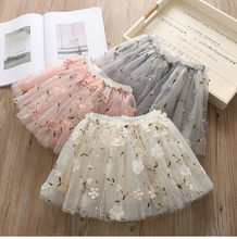 2pcs/lot Baby Girls Tutu Skirts Princess Pettiskirt Party Dance Tulle Skirts Flowers Appliques Girls Clothes Children Clothing