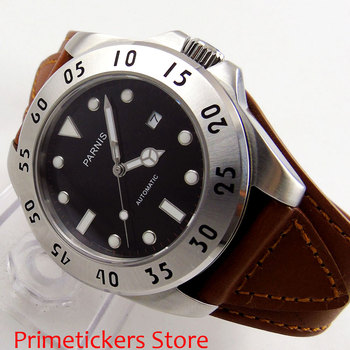 PARNIS 43mm black dial automatic movement date leather strap sapphire glass mena watch image