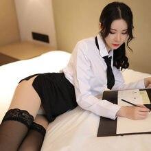 Sexys lingerie feminina secretário roupa uniforme realista professor uniforme sexy trajes para role playing para feminino saia conjunto
