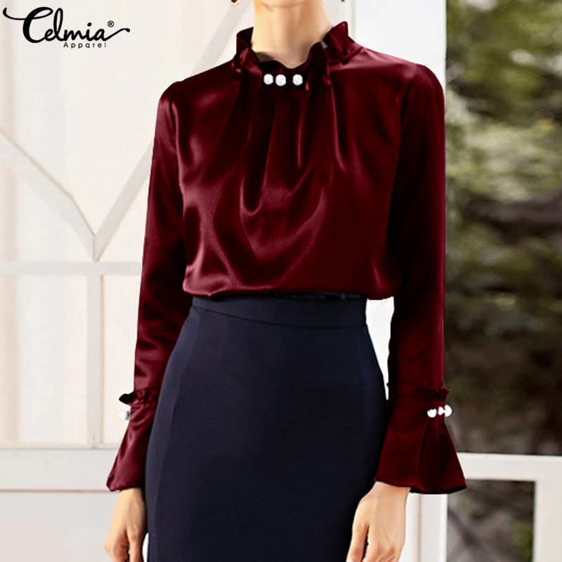 Celmia Elegant Satin Shirt Women Blouses Pearl Stand Collar Long Sleeve Female Office OL Silk Tops Solid Casual Blusas Plus Size