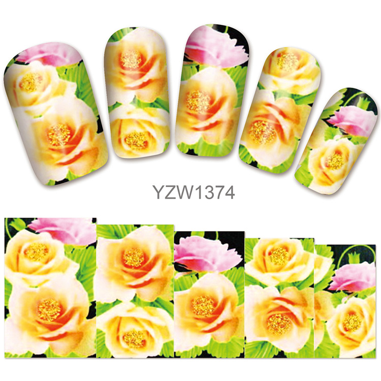 Manicure Watermarking Adhesive Paper Flowers Series Nail Sticker Flower Jewelry Hot Selling Nail Sticker
