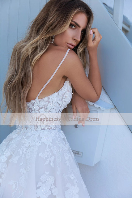 Elegant A-line White 3D flower Wedding Dresses with Appliques Spaghetti Strap Bridal Gowns Boho vestido de casamento 4