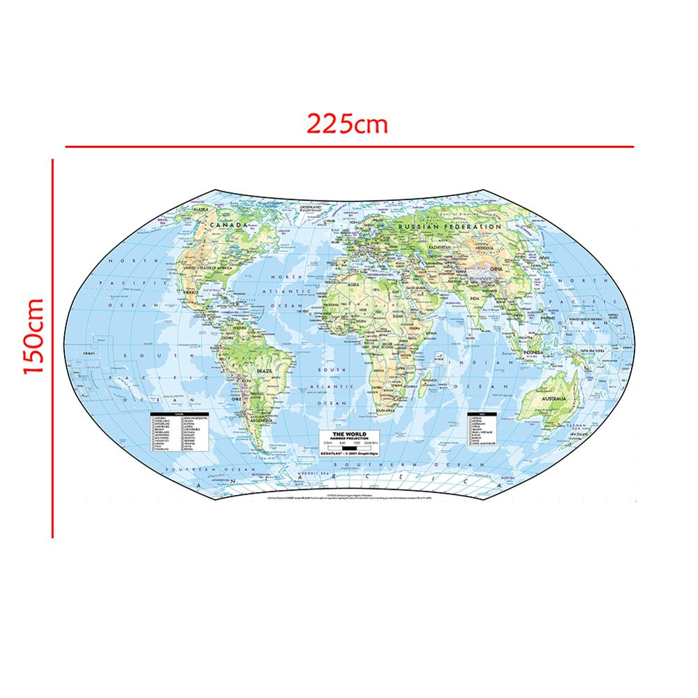 The World Map Hammer Projection Without National Flag For Geographical And Science Research 150x225cm