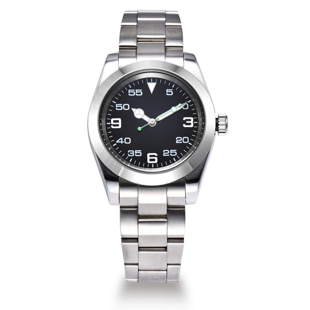 Aik 시계 남자 40mm 블랙 다이얼 자동 무브먼트 솔리드 백 커버 루미 너스 핸드 316l 스테인레스 스틸 팔찌 Z225 1-에서기계식 시계부터 시계 의  그룹 1