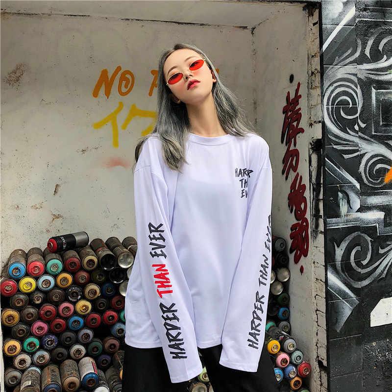 Vrouwen Lange Mouwen Hip Hop 2020 Nieuwe Lente En Herfst Mode Vrouwelijke Dunne T-shirt Losse Brief Koreaanse Stijl Verkopen goed C02
