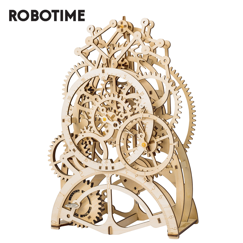 Robotime DIY 3D Wooden Puzzle Mechanical Gear Drive Pendulum Clock Assembly Model Building Kit Toys For Children Adult LK501