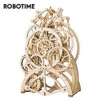 Robotime DIY 3D Wooden Puzzle Mechanical Gear Drive Pendulum Clock Assembly Model Building Kit Toys for Children Adult LK501