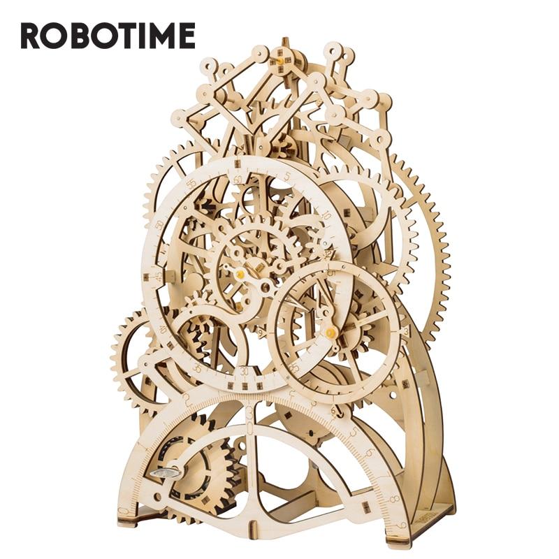 Robotime ROKR DIY 3D Wooden Puzzle Mechanical Gear Drive Pendulum Clock Assembly Model Building Kit Toys For Children LK501