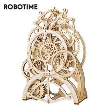 Robotime ROKR rompecabezas de madera 3D para niños, conjunto de bloques de construcción de juguetes para niños, mecanismo mecánico de transmisión de engranajes, modelo de reloj, LK501