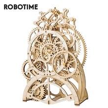 Robotime rokr diy 3D木製パズル機械式ギアドライブ振り子時計組立モデル構築キットのおもちゃ子供LK501