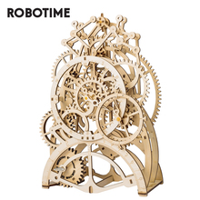 Robotime rokr diy 3d quebra cabeça de madeira mecânica engrenagem unidade pêndulo relógio montagem modelo kit construção brinquedos para crianças lk501