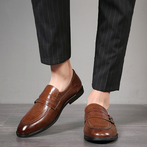 Image 5 - Autumn Men Dress Shoes Handmade British Style Paty Leather Wedding Shoes Men Flats Leather Oxfords Formal Shoes
