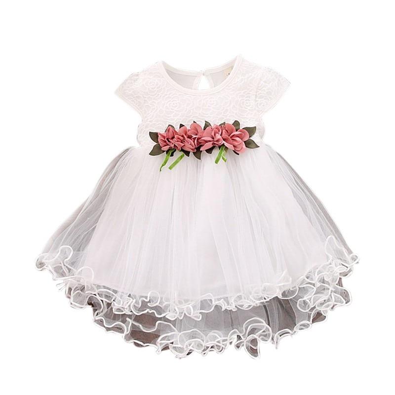 Bonito do bebê meninas verão vestido floral princesa festa tule vestidos de flores da criança infantil meninas malha tutu vestido 0-3y roupas