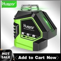 Huepar 360 Degree Green Laser Level with 2 Plumb Dots Point Cross Line Self Leveling Measure Tool 5 Lines Vertical Horizontal
