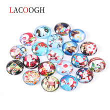 20pcs/lot 8/10/12/20/25mm Multi Style Christmas Round Flat Back Glass Cameo Cabochon Transparent Dome DIY Jewelry Making Finding