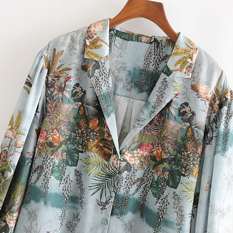 Aachoae Women Casual Floral Print Satin Blouse Casual Loose Tops Ladies Turn Down Collar Lantern Long Sleeve Vintage Shirt Blusa 4