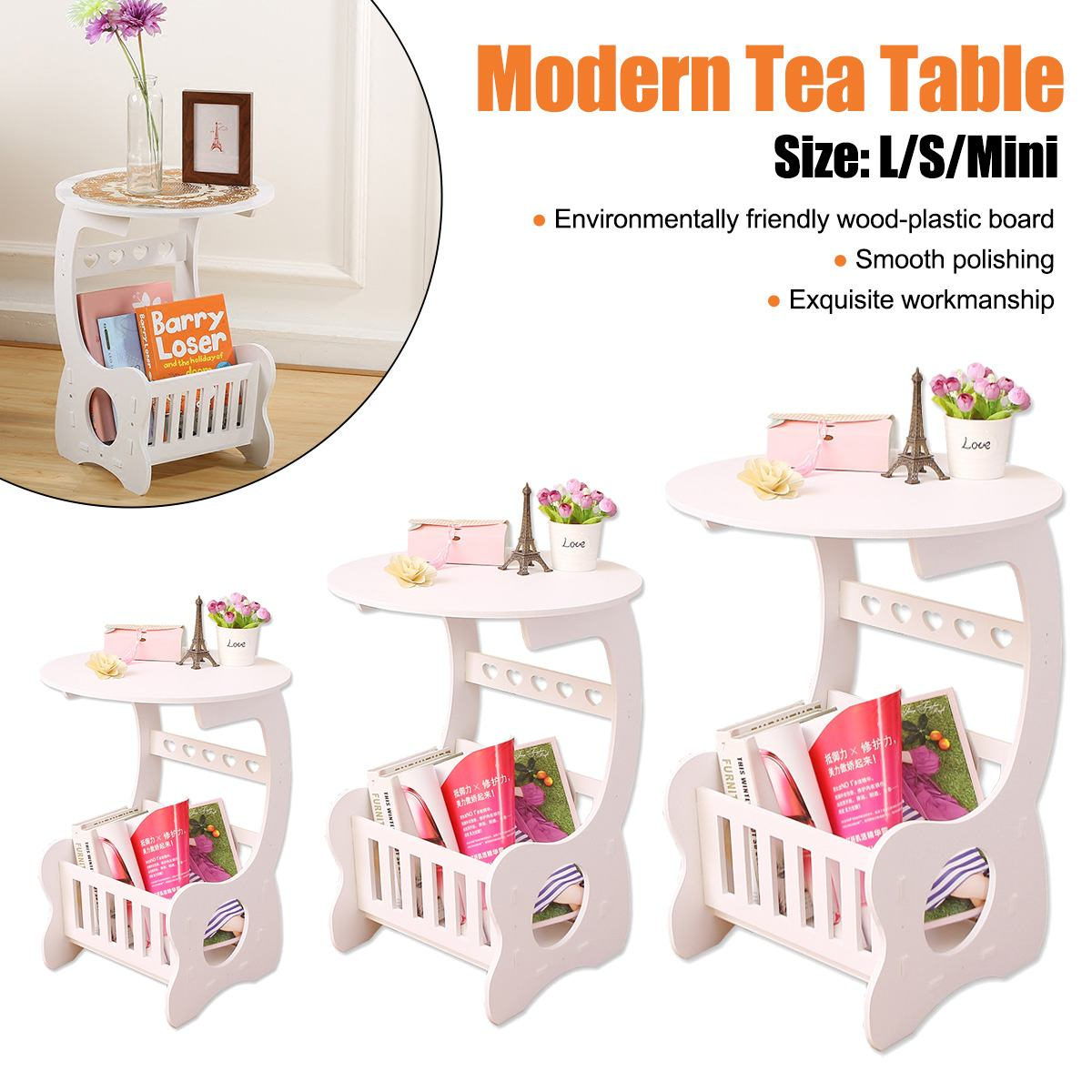 Modern Coffee End Side Table L/S/Mini Size For Home Living Room Tea Desk WPC Material Two Layers Round Edge Storage Shelf title=