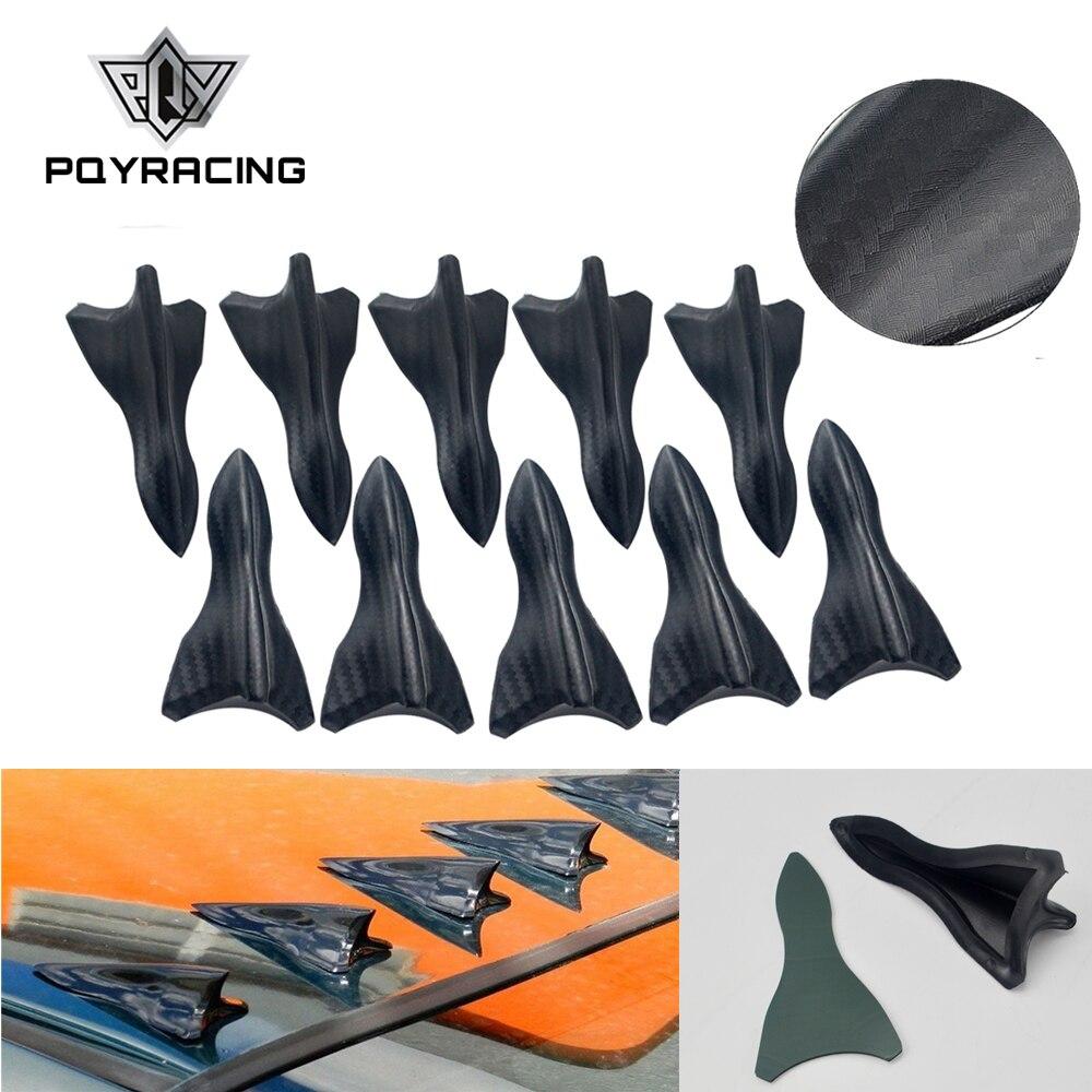 10 adet karbon fiber tasarım görünümlü renk VORTEX jeneratör esnek PP EVO-STYLE çatı köpekbalığı yüzgeçleri SPOILER kanat kiti evrensel