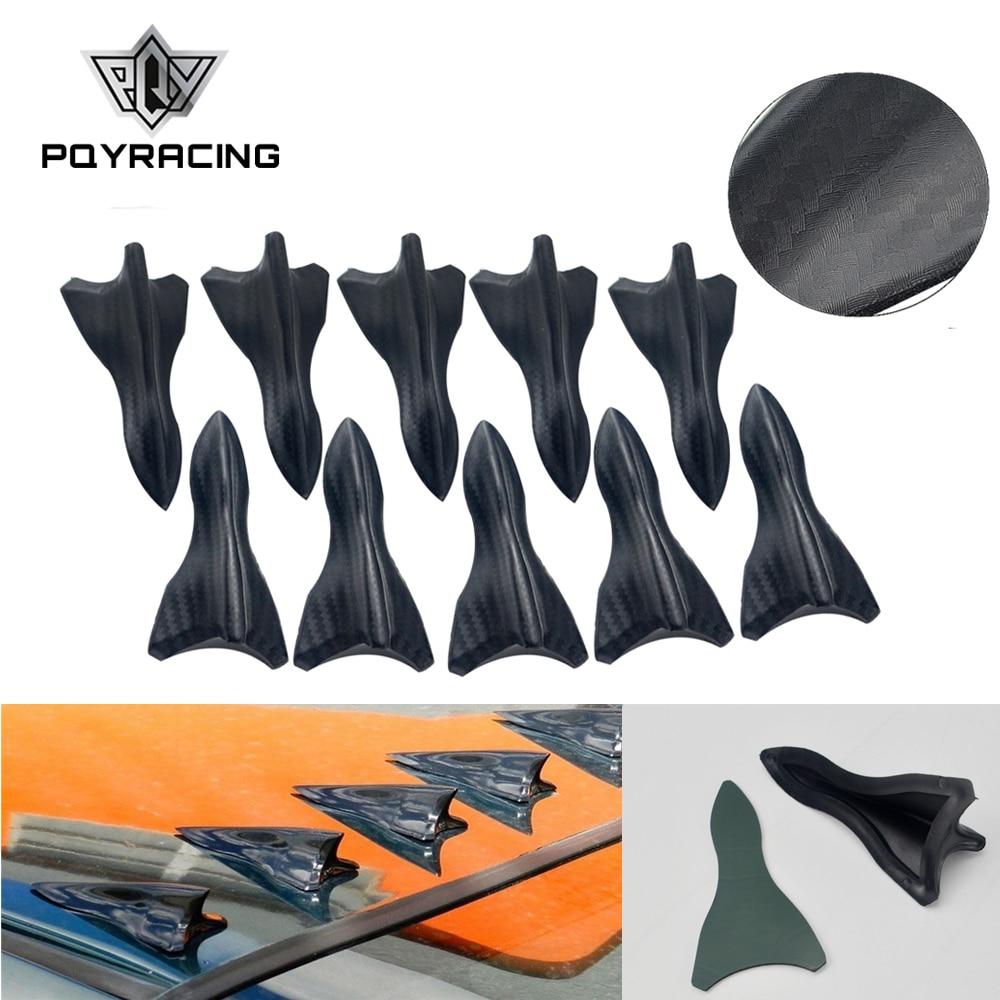 10PCS סיבי פחמן עיצוב למראה צבע ורטקס גנרטור גמיש PP EVO-STYLE גג כריש סנפירי ספוילר כנף ערכת אוניברסלי