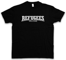 REFUGEES WELCOME III T-SHIRT - Demonstration Left Party Wing Pro Asylum Men 2018 Summer Round Neck MenS T Shirt(China)