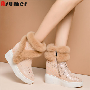 ASUMER 2020 new arrival suede leather ankle boots women fashion warm thick fur snow boots sweet wedges platform shoes woman