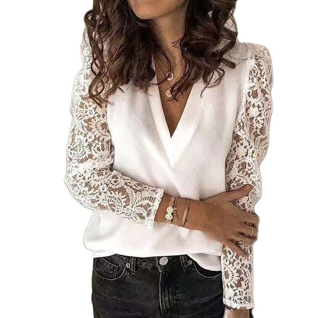 Elegant Blouses Women Lace Tops Chic Women s Blouses Fashion Korean Plus Size Woman Shirt V Neck Women Top and Blouse Tunic