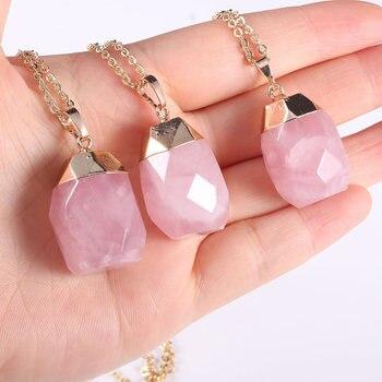 Pierre de quartz Rose naturelle pendentif breloques collier en cristal Rose cha ne m tallique en