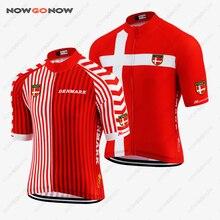 Camiseta de ciclismo rojo NOWGONOW-Pro, Bandera de Dinamarca, ropa de ciclismo para equipo de campo, ropa de verano, camino clásico/Montaña, juegos de pantalones cortos, lo mejor personalizado