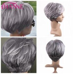 Image 2 - HANNE короткие синтетические парики, смешанный коричневый блонд ручной работы, кружевной топ, парики из высокотемпературного волокна для черных/белых женщин