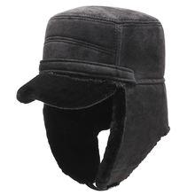 Осень зима 2020 мужские уличные шапки бомберы черная замшевая